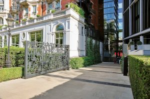 green facade on heritage buildings