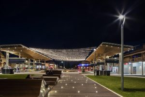 Commercial Catenary Lighting for Building Exteriors / Tensile Design & Construct